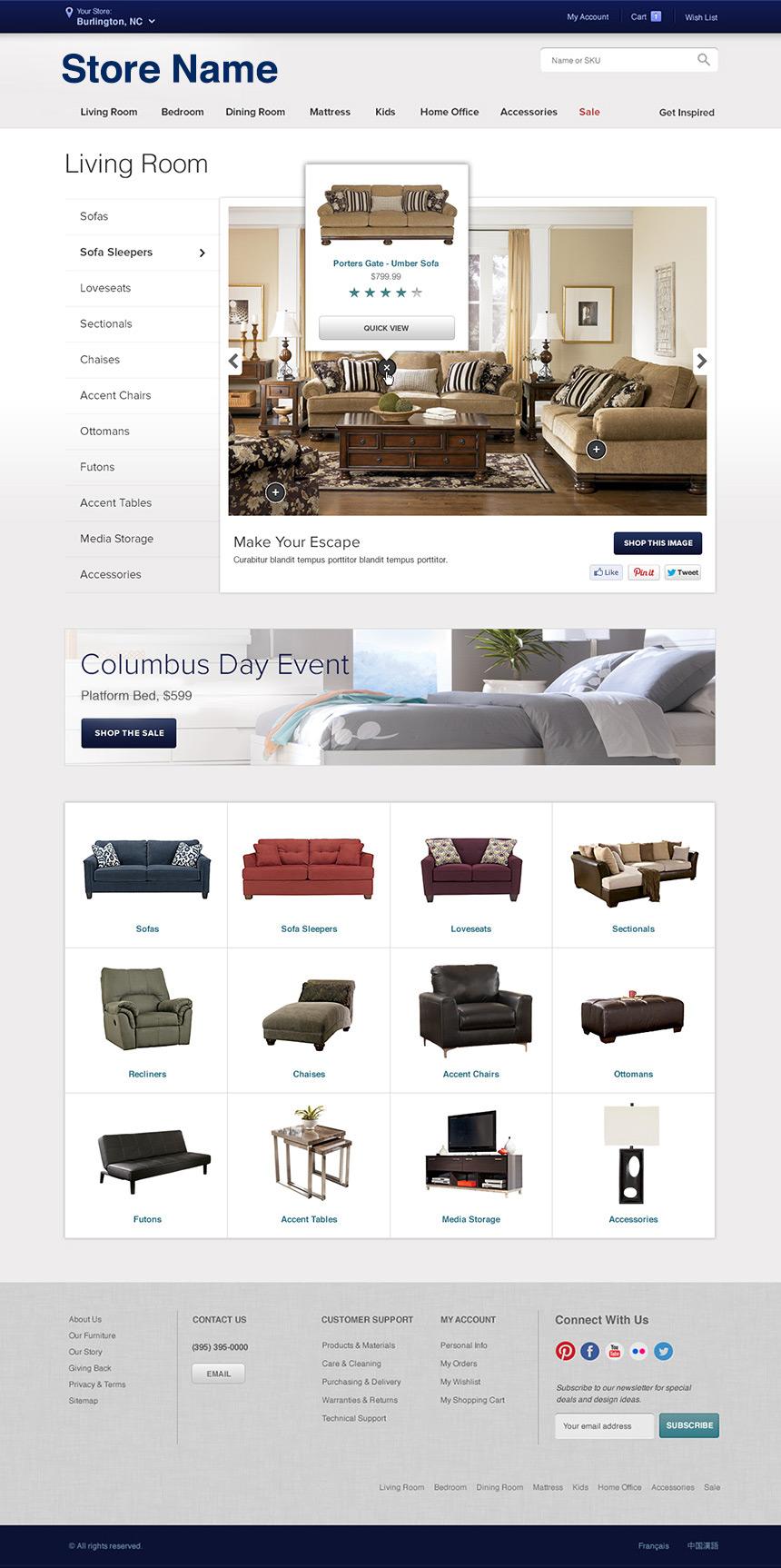 Furniture store mindy wagner web designer for Furnishing websites
